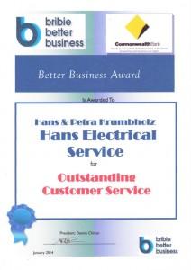 1140131 - Better Business Award - Outstanding Customer Service