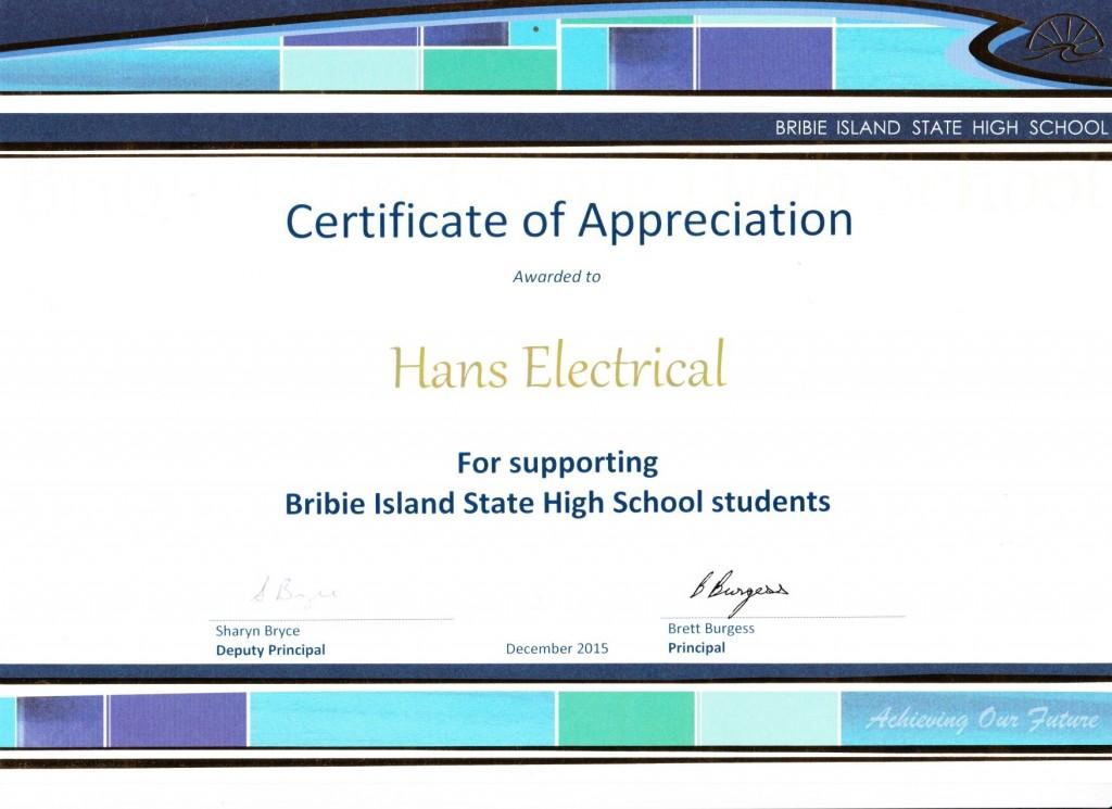 151201 - Certificate of Appreciaton BSHS